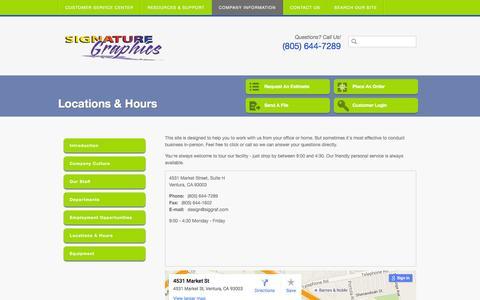 Screenshot of Locations Page siggraf.com - Signature Graphics : Company Information : Locations & Hours - captured Feb. 14, 2016