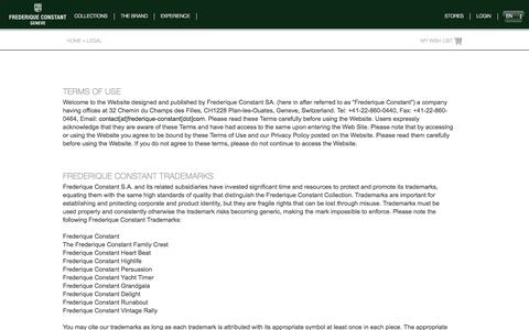 Screenshot of Terms Page frederique-constant.com - LEGAL | Frederique Constant - Geneve - captured Sept. 22, 2014