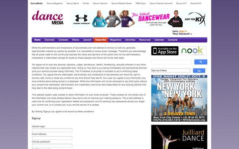 Screenshot of Signup Page dancemedia.com - DanceMedia – All dance, all the time. - captured Sept. 23, 2014