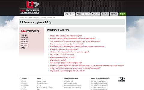 Screenshot of FAQ Page ulpower.com - ULPower engines FAQ  - ULPower Aero Engines - captured Oct. 27, 2014
