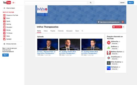 Screenshot of YouTube Page youtube.com - InVivo Therapeautics  - YouTube - captured Oct. 22, 2014
