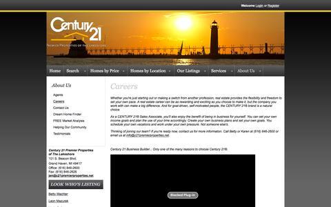 Screenshot of Jobs Page c21premierproperties.net - Careers - captured Jan. 27, 2016