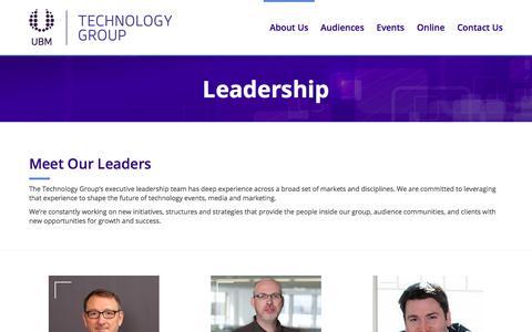 Screenshot of Team Page ubm.com - Leadership | UBM Technology Group - captured Sept. 22, 2018
