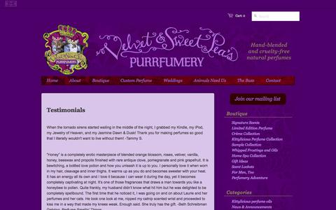 Screenshot of Testimonials Page purrfumery.com - Testimonials – Velvet & Sweet Pea's Purrfumery - captured Oct. 26, 2014