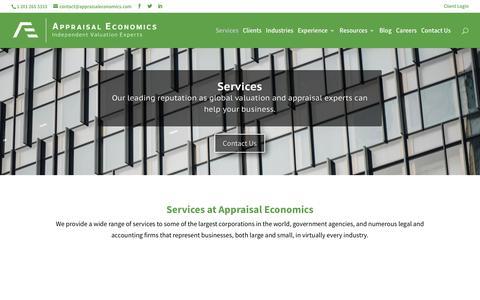 Screenshot of Services Page appraisaleconomics.com - Range of Valuation & Appraisal Services | Appraisal Economics - captured Oct. 3, 2018