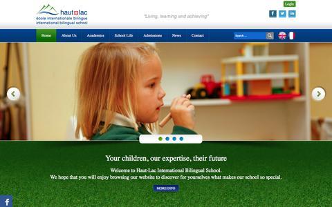 Screenshot of Home Page haut-lac.ch - Home   Haut-lac Biligual International School - Vevey - Switzerland - captured Oct. 2, 2014