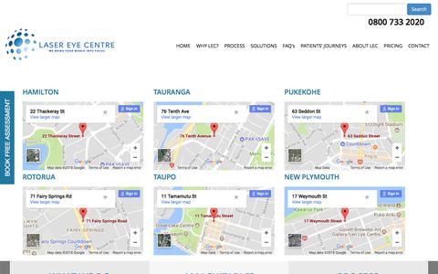 Screenshot of Locations Page lasereyecentre.co.nz - LOCATIONS - captured Jan. 5, 2018