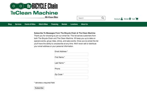 Screenshot of Signup Page thebicyclechain.com - Join Our Email List - North Carolina's Best Bike Shops | The Bicycle Chain - captured Sept. 20, 2018
