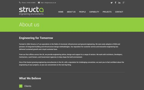 Screenshot of About Page Testimonials Page structa.co.uk - Structa LLP | Consulting Engineers - captured Oct. 8, 2014