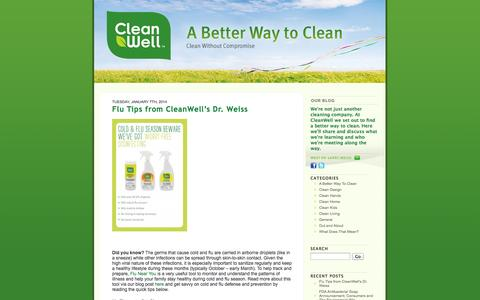 Screenshot of Blog cleanwelltoday.com - A Better Way To Clean - captured Sept. 25, 2014