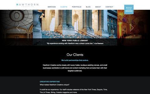 Screenshot of Testimonials Page hawthorncreative.com - Clients - captured Oct. 28, 2014