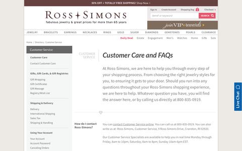 Screenshot of FAQ Page ross-simons.com - Customer Service - captured July 9, 2018