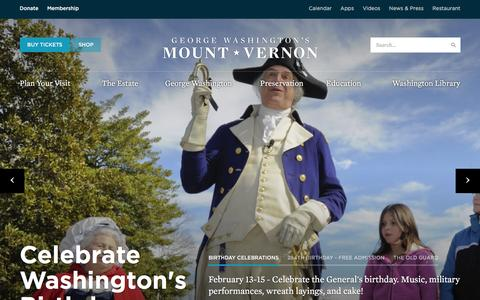 Screenshot of Home Page mountvernon.org - George Washington's Mount Vernon - captured Feb. 6, 2016