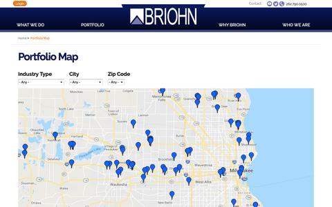 Screenshot of Maps & Directions Page briohn.com - Portfolio Map | Full-Service Commercial Construction | Briohn Building - captured Oct. 6, 2018