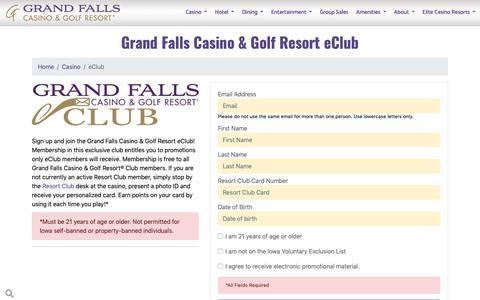 Screenshot of Signup Page grandfallscasinoresort.com - Resort eClub - Grand Falls Casino & Resort® - captured Dec. 8, 2018