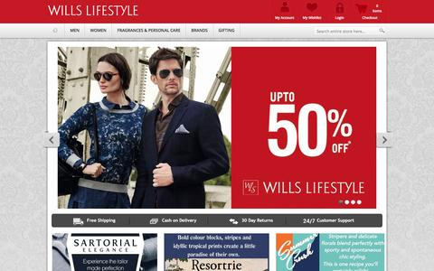 Screenshot of Home Page shopwillslifestyle.com - Wills Lifestyle | Buy Wills Lifestyle Shirts, Clothing Shopping Online in India - captured Jan. 19, 2016