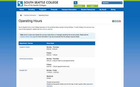 Screenshot of Hours Page southseattle.edu - Operating Hours - South Seattle Community College - captured Sept. 19, 2014