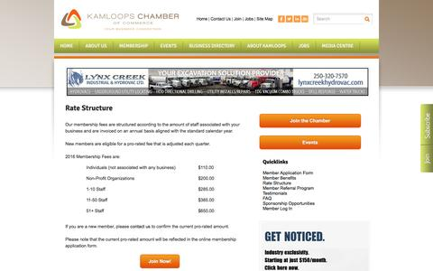 Screenshot of Signup Page kamloopschamber.ca - Rate Structure - Kamloops Chamber of Commerce | Kamloops, BC - captured Nov. 27, 2016