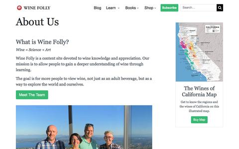 Screenshot of About Page winefolly.com - About Us | Wine Folly - captured Sept. 11, 2019