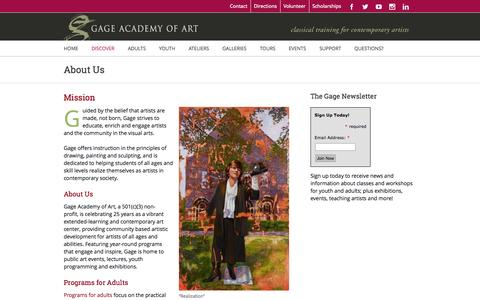Screenshot of About Page gageacademy.org - Gage Academy of Art, Seattle – Classical Training for Contemporary Artists   –  About Us - captured Oct. 1, 2014