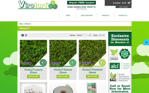 Screenshot of Products Page viroturf.com - Products - captured Oct. 7, 2014
