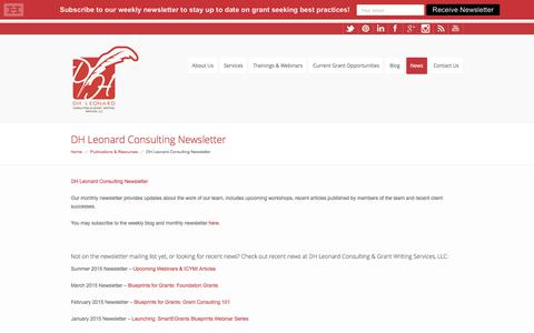 Screenshot of Press Page dhleonardconsulting.com - DH Leonard Consulting Newsletter | DH Leonard Consulting - captured Oct. 11, 2017
