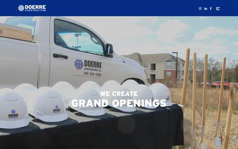 Screenshot of Home Page doerreconstruction.com - Doerre Construction | We Create Grand Openings - captured Oct. 9, 2018