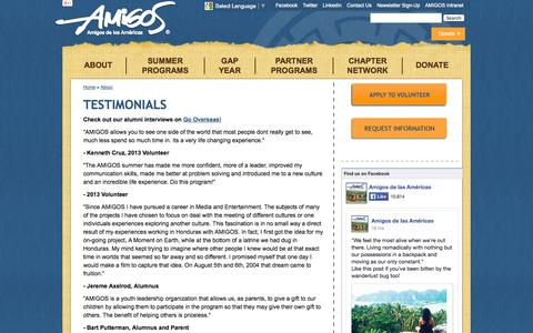 Screenshot of Testimonials Page amigoslink.org - Testimonials   Amigos de las Américas - captured Oct. 4, 2014