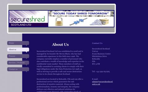 Screenshot of About Page secureshredscotland.co.uk - Secure Shred Scotland - About us - captured Sept. 30, 2017