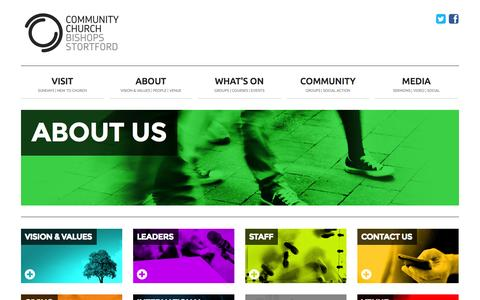Screenshot of About Page thecommunitychurch.org.uk - Community Church Bishop's Stortford | About us - captured Nov. 2, 2014