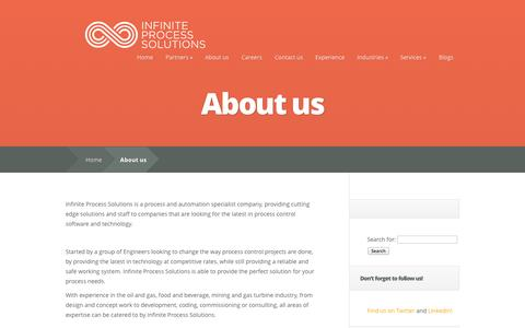 Screenshot of About Page infinite-eng.com - About us | Infinite Process Solutions - captured Oct. 6, 2014
