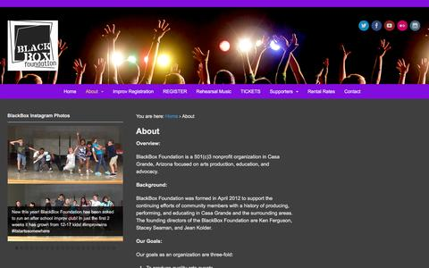 Screenshot of About Page blackboxaz.com - About | BlackBox Foundation - captured Feb. 7, 2016
