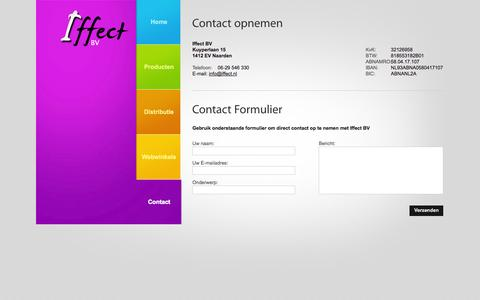 Screenshot of Contact Page iffect.nl captured Oct. 27, 2014