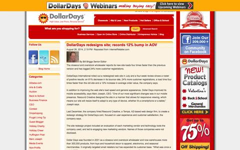 Screenshot of Blog dollardays.com - DollarDays Wholesale Distributor Blog - Small Business Advice - captured Sept. 18, 2014