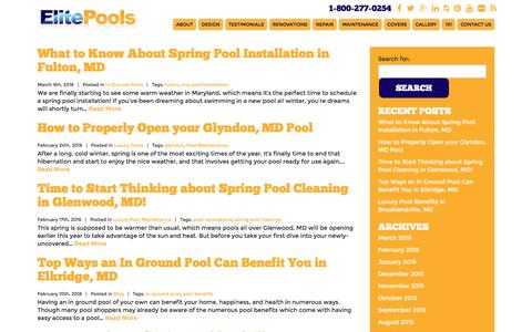Screenshot of Blog elitepools.com - Elite Pools Blog - Pool & Spa Design - Baltimore, MD - captured July 13, 2016