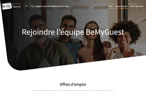 Screenshot of Jobs Page bemyguest.be - Offres d'emploi - captured Nov. 16, 2018