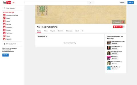 Screenshot of YouTube Page youtube.com - No Trees Publishing  - YouTube - captured Oct. 25, 2014