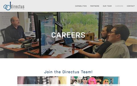 Screenshot of Jobs Page directusconsulting.com - Careers — Directus Consulting - captured Aug. 7, 2018