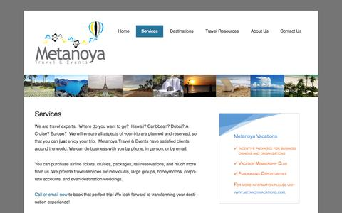 Screenshot of Services Page metanoyatae.com - Services | Metanoya Travel and Events - captured Oct. 27, 2014