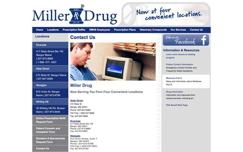 Screenshot of Contact Page Locations Page millerdrug.com - Miller Drug | Providing Pharmaceutical Services Since 1957 - captured June 24, 2016