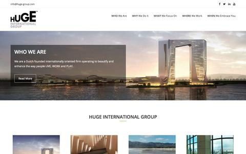 Screenshot of Home Page huge-group.com - HUGE International Group | Dutch founded firm operating to beautify and enhance the way people LIVE, WORK and PLAY. - captured July 11, 2017