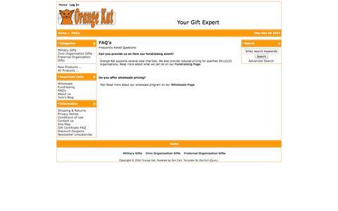 Screenshot of FAQ Page myorangekat.com - FAQ's : Orange Kat, Your Gift Expert - captured Nov. 3, 2014