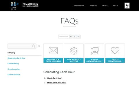 Screenshot of FAQ Page earthhour.org -   EARTH HOUR - captured Oct. 31, 2014