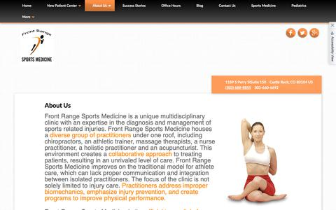 Screenshot of About Page b2hchiro.com - Front Range Sports Medicine - Chiropractor in Castle Rock, CO, US :: About Us - captured Oct. 5, 2018
