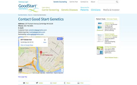 Screenshot of Contact Page goodstartgenetics.com - Contact Us | Good Start Genetics - captured Sept. 16, 2014