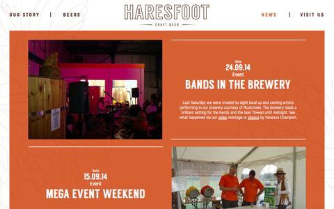 Screenshot of Press Page haresfoot.com - News & Events - Haresfoot Craft Beer - captured Oct. 5, 2014