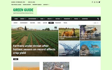 Screenshot of Press Page greenguidespain.com - News | Green Guide Spain - captured Feb. 18, 2018