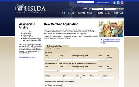 Screenshot of Signup Page hslda.org - HSLDA - captured Sept. 18, 2015