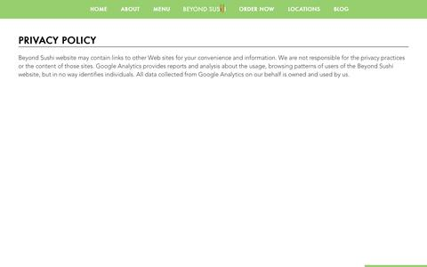 Screenshot of Privacy Page beyondsushinyc.com - Privacy policy - Beyond Sushi – The Green Roll - captured Aug. 30, 2016