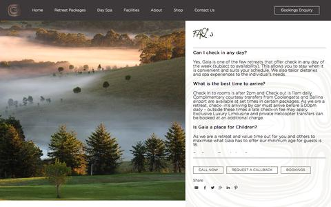 Screenshot of FAQ Page gaiaretreat.com.au - FAQs about Bookings, Spa Treatments, Cancellation Policy & More - captured June 28, 2019